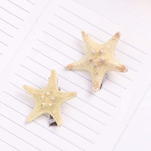 FRCOLOR 2PCS Starfish Hair Clip Handmade Natural Sea Star Hair Pins Cute Headwear for Girls Kids, Random Size