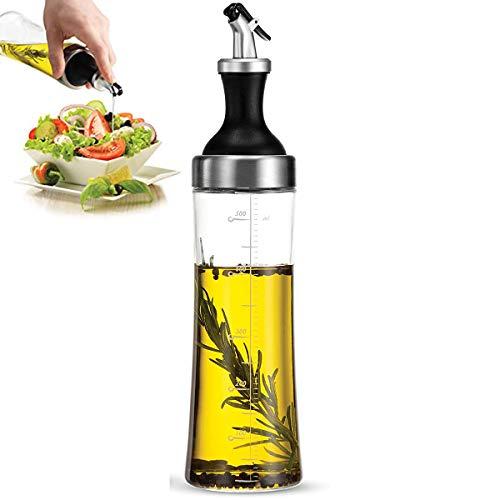 LAZZARU Aceitera Antigoteo de Cristal - Botella 570ml para Aceite de Oliva y Vinagre Cocina - Recipiente con Tapón Dispensador - Vidrio con Escala de Medidas - Diseño Sistema Sin Goteo