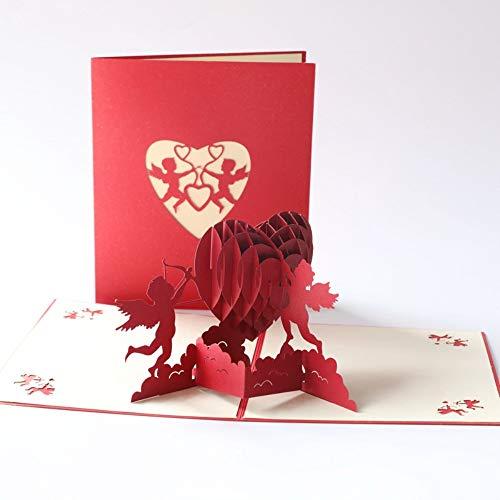 Tarjeta para San Valentín, hermoso corte de papel, 3D Pop-Up Tarjeta de Felicitación, para cumpleaño día de la madreboda día de San Valentín . (Cupido)