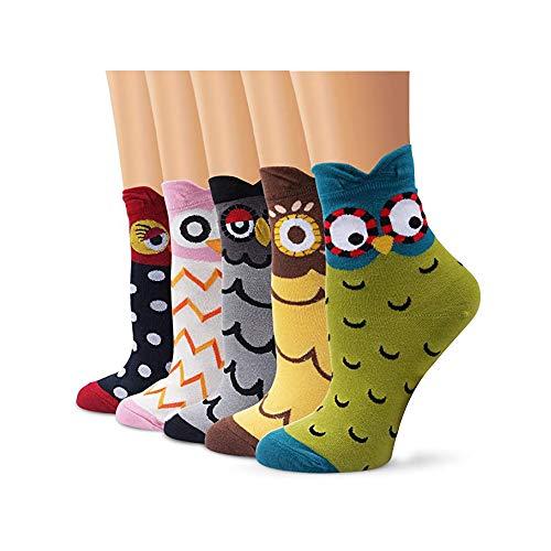 Calcetines navideños unisex de algodón de 3/5 pares con diseño de dibujos animados, regalo de Navidad para hombres y mujeres Ye0013-13 Talla única