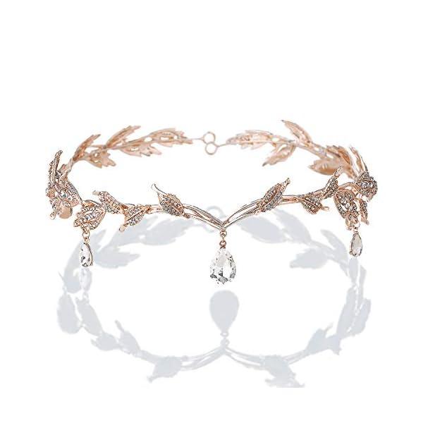 BABEYOND Crystal Leaf Wedding Headpiece Headband Bridal Bridesmaid Forehead Band...