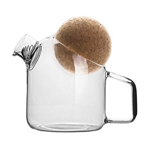 LiPengTaoShop Glaskrug Hoch Borosilicatglas Wasserkrug Glaskrug Mit Kork-Ball Stopper Wasserkaraffe Mit Griff Eistee Krug Hoher Hitzebeständigkeit Pitcher (Color : Clear, Size : 250ml)