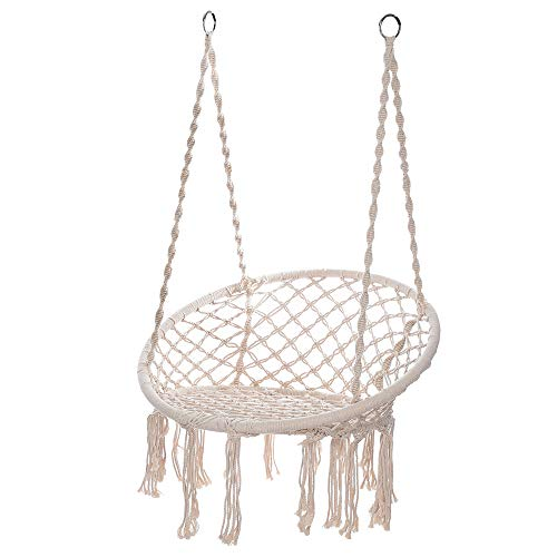 TLoowy-Clearance Hammock Chair Macrame Swing, 330 Pound Capacity, Perfect for Indoor/Outdoor Home, Patio, Deck, Yard, Garden