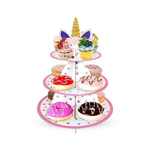 Hwtcjx soporte cupcake, Soporte para magdalenas, 1 pieza soporte tartas, bandejas tartas, expositor de tartas, Hecho de cartón, hebilla fija, forma de unicornio, para baby shower, cumpleaños (rosa)