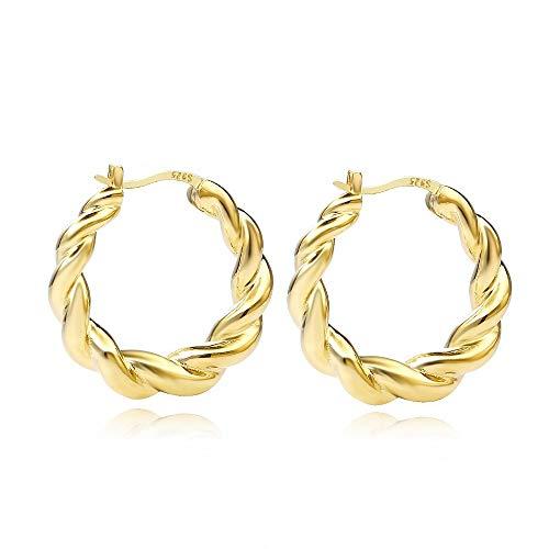 CHIY-GBC 925 Plata esterlina Popular huggie Hoop Pendientes Oro Graduado Aros de Marea Pendiente para Mujeres Europeas joyería 25 mm