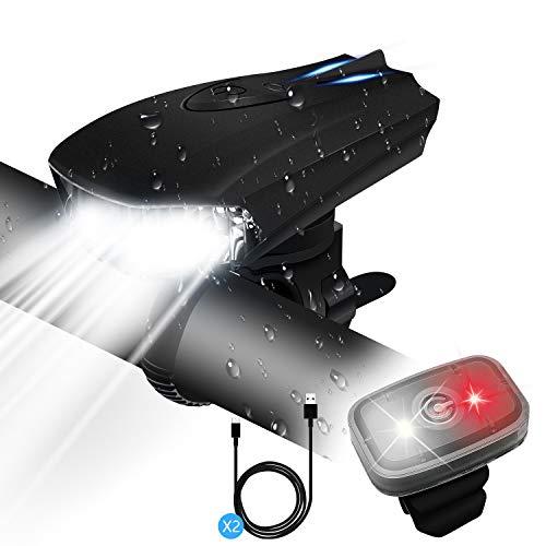 GXIN Luci Bici,Luci Bicicletta LED Ricaricabili USB,Luce Bici LED con 400 Lumen & Impermeabile IPX5,Luci per Bicicletta con 5 modalità di Illuminazione per Bici Strada e Montagna- Sicurezza per Notte