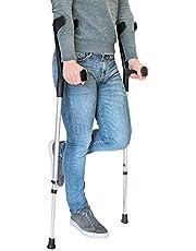 PEPE - Muletas Adulto (2 unidades), Muletas Adulto Regulables Aluminio, Muletas Ortopédicas, Muletas Adulto Regulables, Muletas para Caminar, (Color Negro).