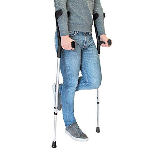 PEPE-MULETAS, Muletas adulto regulables aluminio, Muletas ortopédicas, Muletas adulto regulables, Muleta negra, Pack 2 unidades ✅