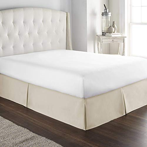 KBC linen 800 Thread Count 100% Pure Cotton Luxury Box Pleated Bed Skirt California King Size with 16 Inch Drop Length Ivory