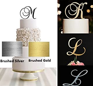 Monogram Acrylic Letter Cake Toppers In Brushed Gold or Brushed Silver A B C D E F G H I J K L M N O P R S T U V W (Letter R, Brushed Silver)