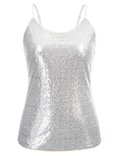 Womans Glitter Tank Tops Sleeveless Sparkle Shimmer Camisole Glitter Sequin Top Silver 24W