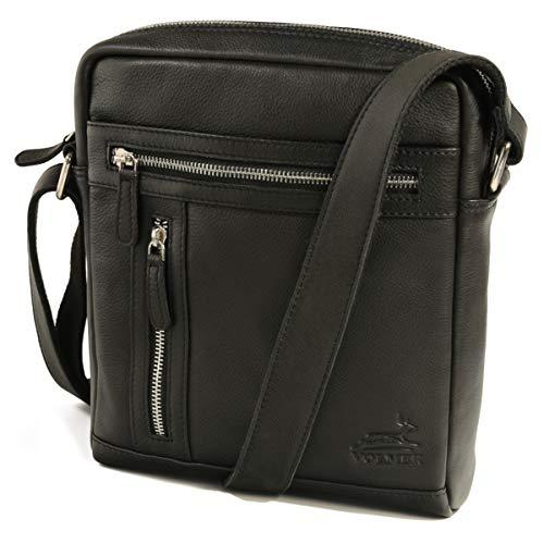 Volmer® – Bolso de piel 100% auténtica para hombre y mujer, bolso de hombro, bolso de viaje, aprox. 26 x 23 x 7 cm, modelos Stanford y Princeton, Negro , Medium