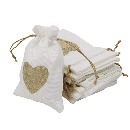 Shintop 30 Stück Sackleinen Taschen Kordelzug Beutel Schmuck Candy Pouch für Hochzeit Geburtstag Weihnachten Party Favors DIY Handwerk (Weiß mit Braunen Herzen)