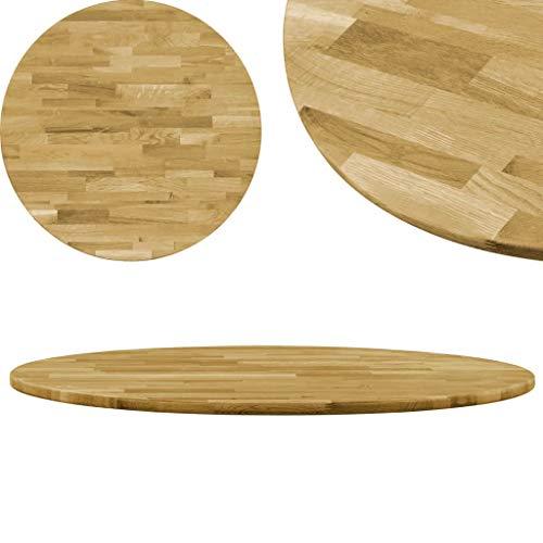Festnight Massiveholz Tischplatte Rund Eiche Holztischplatte Ersatzteil Drehplatte Dicke (600 mm)