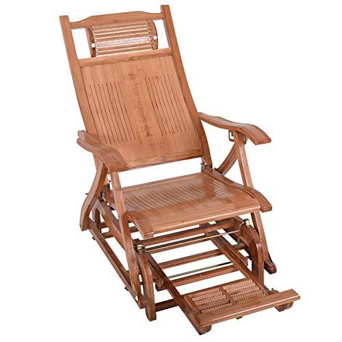 Chaises longues ZR- Chaise Berçante en Bois Ajustable Pliant Fauteuil Inclinable Balcon Loisir Fauteuil Extérieur Jardin Vieil Homme Chaise Siesta avec Massage des Pieds