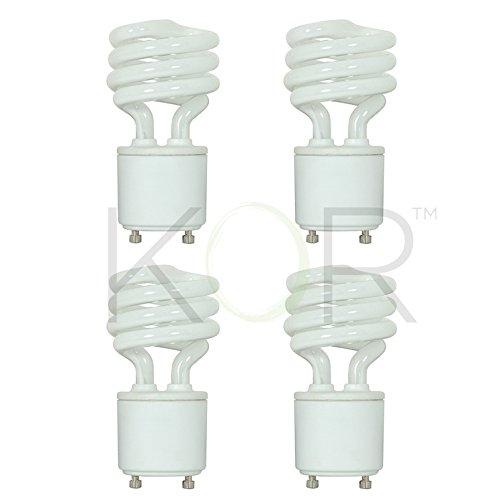 (4 Pack) 13 Watt Mini Spiral - GU24 Base - (60W Equivalent) - T2 Mini-Twist - CFL Light Bulb (Bright White (5000K), CFL)