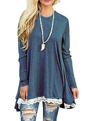 Sanifer Women Lace Long Sleeve Tunic Top Blouse (Large, Blue)