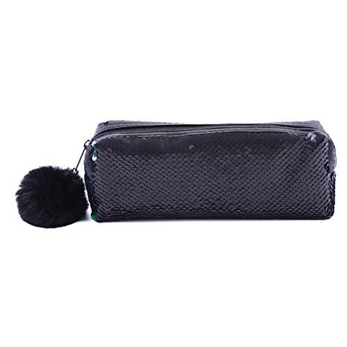 ZALING 1 Pcs Paillettes Réversibles Zipper Pouch Crayon Sac De Rangement Sac De Maquillage Pochette Mat Noir + Vert