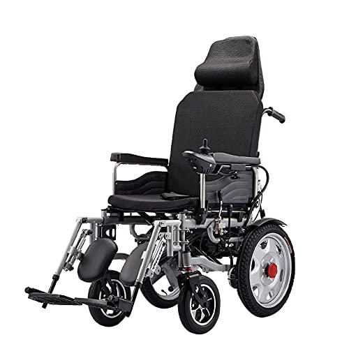 FGVDJ Scooters para Personas Mayores con discapacidades Silla de Ruedas eléctrica Plegable, Respaldo Alto Que Puede recostarse por Completo Batería de Plomo-ácido de 12 A