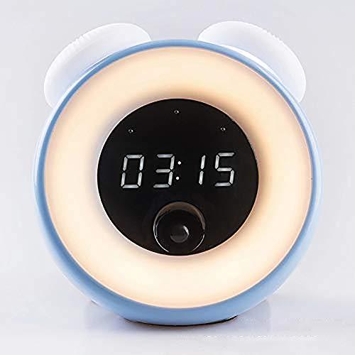 YQG Led-nachtlampje voor kinderen, lichtwekker, wake-up licht, digitale led-weergave, wekker, nachtkastlampje, 2 kleuren, nachtlampje, veilige ABS- en siliconen