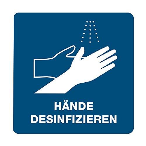 3 Stück Hinweis-Aufkleber 15x15 cm (Quadrat, Kanten gerundet) Hände desinfizieren/Design-Aufkleber mit Schutzlaminat/Verschiedene Motive verfügbar