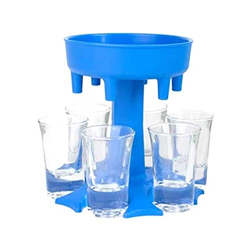 SQYX Shot Glass Dispenser 6 Ways,Soda Can Beer Glasses,Shots Dispenser Stand,Shot Glass Dispenser Holder,for Bar Cocktail Great Party Gift (Blue)
