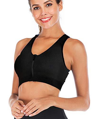 Dodoing Sport-BH mit Reißverschluss vorne, nach Operationen, Yoga-BH, Workout, Fitness, Sportbekleidung, Racerback, gepolstert, für Damen Gr. XL, 2# 1 Pack-schwarz