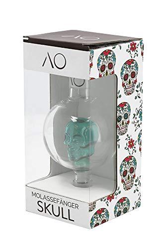 AO® Cachimba Recoge melaza en Vidrio Skull | Cut 18.8 | Pre Enfriador Recuperador colector de melaza en Cristal en Forma de Calavera (Verde)