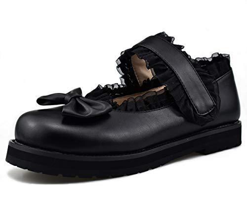 Mekereke Womens Black Mary Jane Platform Lolita Flat Flats Shoes for Women Bow Lace Square Toe Thick Low Heel Flat Lolita Shoes(6.5)