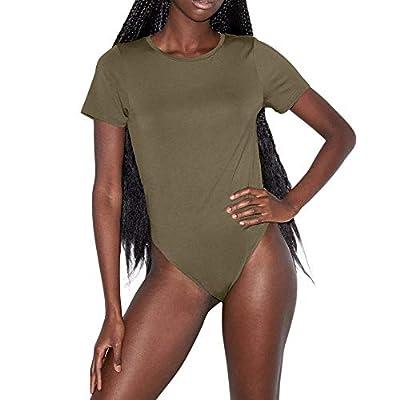 American Apparel Women's Mix Modal Short Sleeve T-Shirt Bodysuit, Army, Small