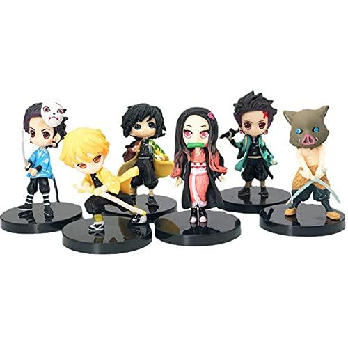 6 PCS Demon Slayer Action Figures,7cm Q Demon Slayer Figures,Anjirou Kamado Nezuko Agatsuma Zenitsu Hashibira Inosuke Tomioka Giyuu Anime Model Toys Black