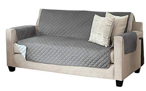 Viva Sesselschoner Sofaschoner Sesselschutz Sofaüberwurf (3-Sitzer 191 x 279 cm, anthrazit/hellgrau)