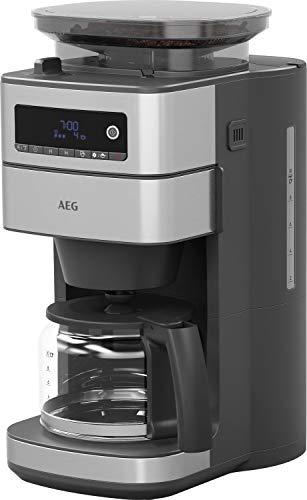 AEG CM6-1-5ST Kaffeemaschine (H&G Testsieger, integriertes Mahlwerk, 3 Mahlgradeinstellungen, programmierbar, Kaffeepulver, Kaffeebohnen, Aroma, 1,25 l Glaskanne, Sicherheitsabschaltung, Edelstahl)