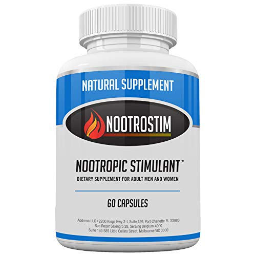Nootrostim- Natural Stimulant to Speed Up Your Brain: Study Pills, Energy Boost Supplement & Best Alpha Brain Wave Smart Nootropics- 60 Capsules