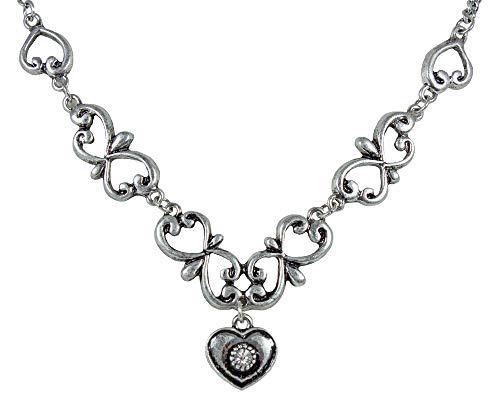 Halskette Sophia mit Ornamenten und Herzanhänger - Trachten Schmuck zu Dirndl und Trachtenbluse