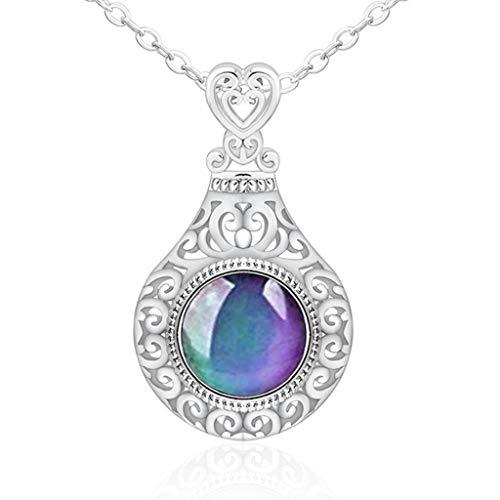 Leiouser - Anillo con colgante de corazón para mujer, diseño de corazón con piedra de cambio de color