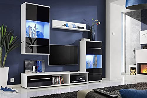 WFL GROUP Mobile TV Moderno con luci LED Blu - Frontale in Vetro Nero Lucido e Corpo Bianco Opaco - Parete Attrezzata Contemporanea - Arredo Soggiorno con Mobile TV