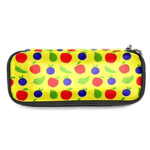 Farbiges Apfelleder-Federmäppchen mit doppeltem Reißverschluss, Schreibwaren-Tasche, Aufbewahrungstasche für Jungen und Mädchen