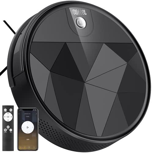 VOSFEEL Robot Aspirapolvere 2200Pa 60dB Silenzioso Controllo con WiFi App Alexa Ideale per Peli di Animali Adatto Tappetti e Pavimenti