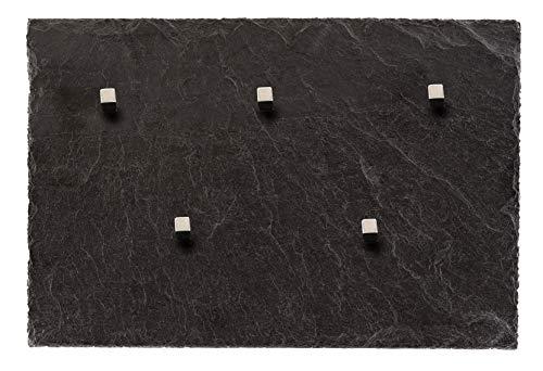 Board Boulevard Schiefer Magnettafel (Echt Massiver Stein) ! 30 cm x 20 cm - Pinnwand Kreidetafel inkl. 5 Neodym Magnete aus Spanischem Bergbauvorkommen