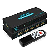 HDMI Switch SGEYR 5x1 HDMI Switcher 5 in 1 Out HDMI Switch Selector 5 Port Box with IR Remote Control HDMI 1.4 HDCP 1.4...