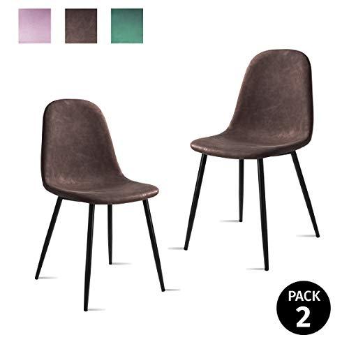 Mc Haus AFRA - Pack 2 Sillas Comedor estilo Vintage tapizadas en cuero sintético Marrón, Asiento Acolchado para Salón y Dormitorio con patas metálicas de color Negro 46x43x86cm