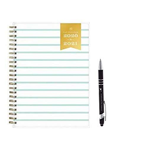 Day Designer for Blue Sky June 2020- July 2021 Academic Vertical Planner 6.25 X 8.75'Weekly Monthly 'Planner wirebound'Stripes'' and Presidential Custom Pen