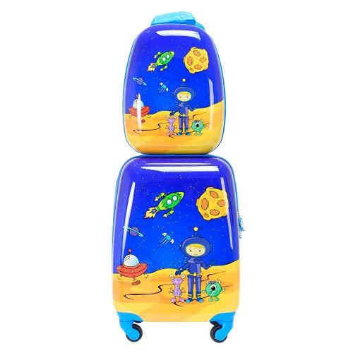 BONTOUR Set di 2 valigie per bambini, zaino + trolley da viaggio per bambini, Aviazione spaziale.,