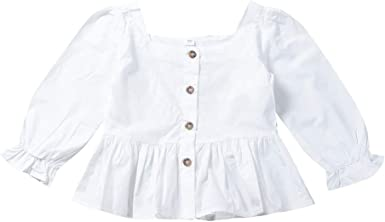 URMAGIC Blusa para niñas, Niñas Niños Color sólido Blanco ...