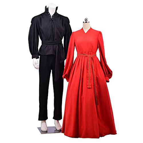 1791's lady Men's Princess Bride Westley Costume Gothic Vintage Suit Pirate Shirt and Pant Set Black (Black, S)