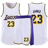 RL Lakers 23# James Col Rond Gilet De Sport Short Basketball Jersey Ensemble Deux PièCes,Homme sans Manches T-Shirt,Enfant Manche Courte,Femmes Sweat-Shirt(2XS-5X),Blanc,2X(170/175CM)