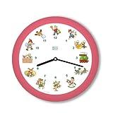 KOOKOO KinderLieder Rosa, Piccolo Orologio da Muro, 21cm, Ogni Ora Suona Uno dei 12 Famosi brani per Bambini su cetra e Flauto Contralto