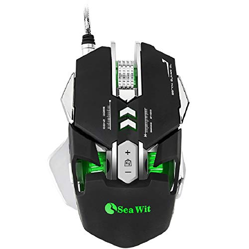 Sea Wit RGB USB Wired Gaming Mouse Up to 4800DPI4 DPI Adjustment Levels7 Programmable Buttons Colorful Breathing LEDSkinFriendly Material54 ft Braided Wire for PC Laptop