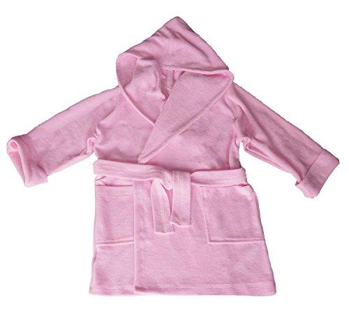 Preisvergleich Produktbild DKaren Kinder Bademantel mit Kapuze / Jungen und Mädchen / Größen 104-152 80% Baumwolle,  20% Polyester / 152 Rosa